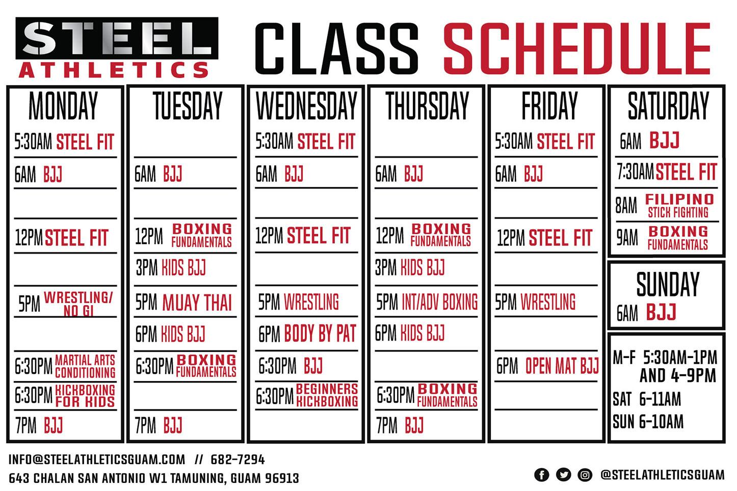 April 2019 Class Schedule